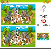 Cartoon Illustration Of Finding Ten Differences Between Pictures Educational Game For Children With  poster