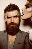 Glamour Concept. Bearded Man And Woman With Glamour Makeup And Hairstyle. Couple In Love With Glamou poster