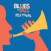 Jazz Music Festival Poster With Trumpet Player Flat Vector Illustration. Colorful Music Background W poster