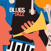 Jazz Music Festival Poster With Trumpet, Piano And Contrabass Flat Vector Illustration. Colorful Mus poster