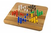 stock photo of chinese checkers  - Chinese Checkers board on white with game in progress - JPG