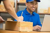 Employees Receive Parcels From Customers And Writing Addresses For Shipping Products, Express Counte poster