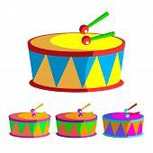 Drum Vector. Children Toy. Rhythm Symbol. Music Instrument. Isolated Flat Cartoon Illustration poster
