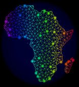 Bright Spectrum Mesh Vector Map Of Africa With Glare Effect. Abstract Lines, Triangles, Light Spots  poster