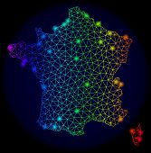 Bright Spectrum Mesh Vector Map Of France With Glare Effect. Abstract Lines, Triangles, Glare Spots  poster
