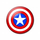 Shield With A Star, Superhero Shield, Comics Shield. Vector American Captain, Logo Captain America,  poster
