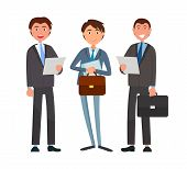 Business Affairs, Businessmen Holding Documents Vector. Partners Looking At Details Of Contract, Dea poster