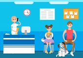 Veterinary Clinic Reception Appointment Of Patients Vector. People At Animal Hospital, Care And Trea poster