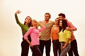Youth Taking Selfie Photo, Spend Time Together, Speaking. Selfie Photo Concept. Students, Happy Frie poster