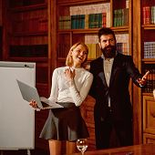 Buy Online Concept. Happy Couple Buy Online On Shop Website. Sensual Woman And Bearded Man Use Lapto poster