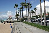 stock photo of bike path  - bike path at manhattan beach - JPG