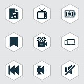 Multimedia Icons Set With Previous, Tv, Sound Off And Other Video Elements. Isolated Vector Illustra poster