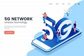 5g Network Wireless Technology Vector Illustration. Isometric Smartphone With Big Letters 5g And Tin poster