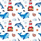 Underwater Creatures.watercolor Seamless Pattern With Whale,dolphinseashells,lighthouse And More.per poster