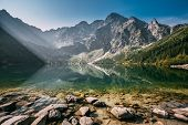 Tatra National Park, Poland. Famous Mountains Lake Morskie Oko Or Sea Eye Lake In Summer Morning. Be poster