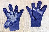 Workshop Of Hand Making A Fleece Gloves From Blue Merino Sheep Wool Using Wet Felting Process - Wet  poster