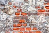 Abstract Grungy Old Red Brick And Gray Stone Wall Background. Vintage Background poster