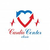 Cardiology Vector Conceptual Emblem Made With A Heart Pulsating Electrocardiogram. Cardiology Diagno poster