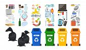 Rubbish Bins For Recycling Different Types Of Waste. Garbage Containers For Trash Sorted By Plastic, poster