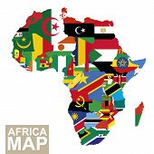 Africa Map. Vector Map Of Africa With Flags. African Countries Flag. Vector Illustration. poster