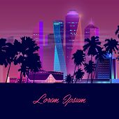 Metropolis In Tropics Cartoon Vector Banner In Neon Colors. Resort City Nightlife Concept With Illum poster