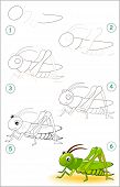 Educational Page For Kids Shows How To Learn Step By Step To Draw A Cute Cricket. Back To School. De poster