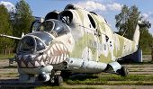 Old Soviet Military Helicopter Mi-24 With Bullet Prints On Glass From Afganistan.