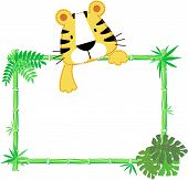 Cute baby tiger vector frame