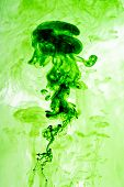 Green Ink Dispersing In Water