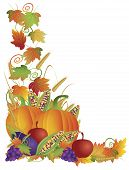 stock photo of fall-wheat  - Thanksgiving Day Fall Harvest Pumpkin Eggplant Grapes Corns Apples with Leaves and Twine Border Illustration - JPG
