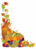 stock photo of cornucopia  - Thanksgiving Day Fall Harvest Cornucopia Pumpkin Eggplant Grapes Corns Apples with Leaves and Twine Border Illustration - JPG