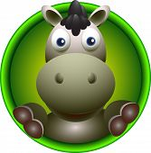pic of wild donkey  - vector illustration of cute donkey head cartoon - JPG