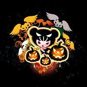 Постер, плакат: Хэллоуин ведьмы с тыквы и летучие мыши