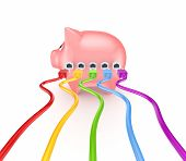 Colorful patchcords connected to piggy bank.