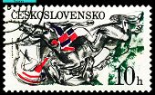 Vintage  Postage Stamp. Falling Horses And Jockeys.
