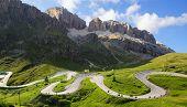 Dolomites landscape with mountain road. I