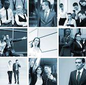 Monochromatic collage in blue gamma: businesspeople, time, money and success