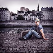 Retro Photo Of Young Handsome Man Traveler