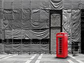 Red Telephone Booth Canvas Background