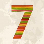 Vintage Multicolor Number Seven