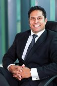 cheerful indian business man sitting in modern office