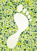 image of reuse  - Green icons foot prints concept splash - JPG