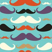 Old Fashioned Mustache Seamless Pattern