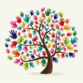 Colorful  Solidarity Hand Tree