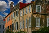picture of revolutionary war  - Photo of a row of very old colonial homes in Charleston South Carolina - JPG