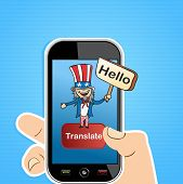 foto of uncle  - Smart Phone uncle Sam man sign translation concept background - JPG