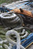 old ship's ropes and rudder