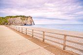 Etretat Aval Cliff Landmark, Balcony And Beach. Normandy, France. poster
