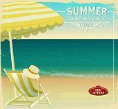 Tropical Beach Summer Poster, with beach umbrella and lounge chair on a sandy beach with wonderful ocean view (uncropped image under a clipping mask)