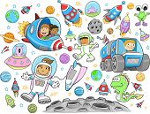 Cute Outer Space Vector Illustration Design Set